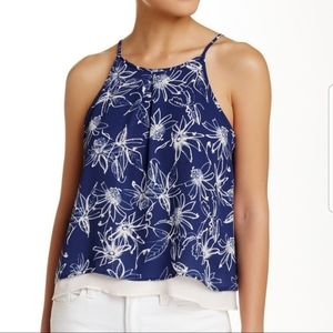 Lush Blue Floral Layered Tank top size M